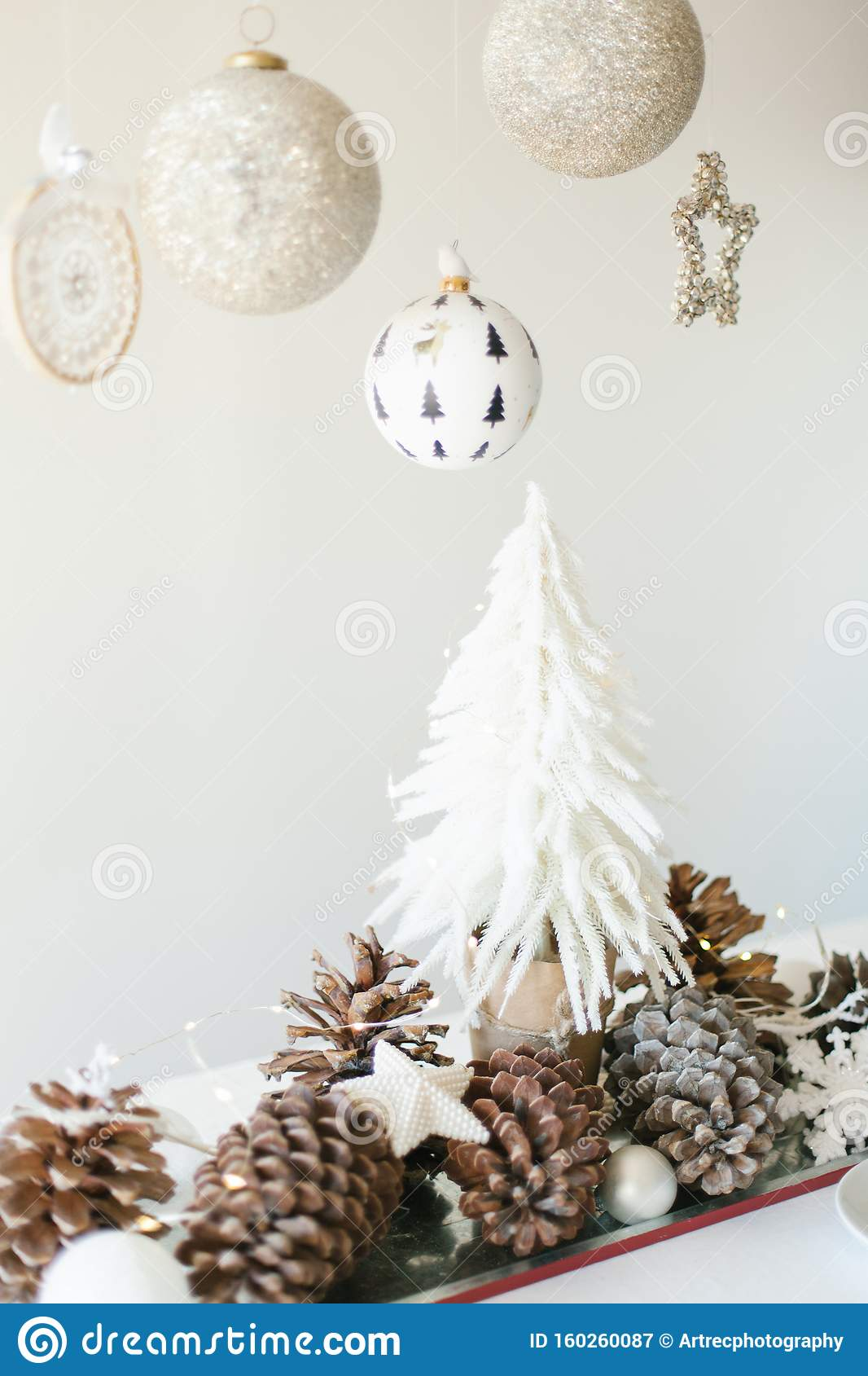 Winter Table Decoration With Mini Christmas Tree Pine Cones And Toys Stock Image Image Of Chirstmas Dinner 160260087