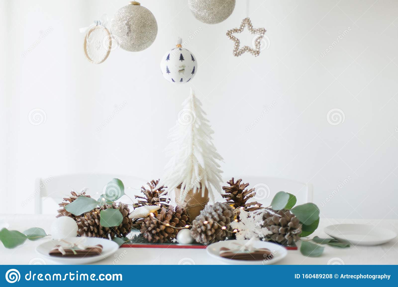 Winter Table Decoration With Mini Christmas Tree Pine Cones And Toys Stock Photo Image Of Napkins Dinner 160489208