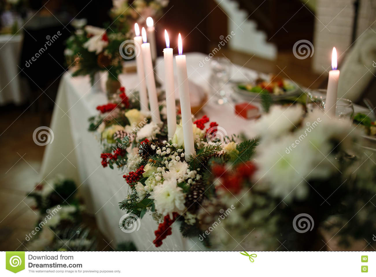 Winter Themed Wedding Table Stock Photo Image Of Cones Flowers