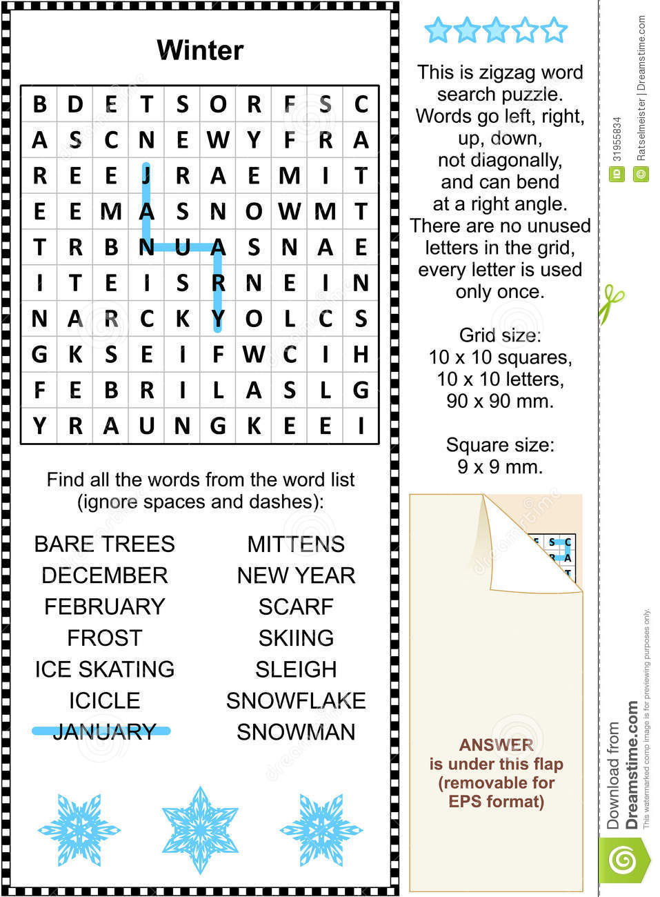 Winter Themed Wordsearch Puzzle Stock Images - Image: 31955834