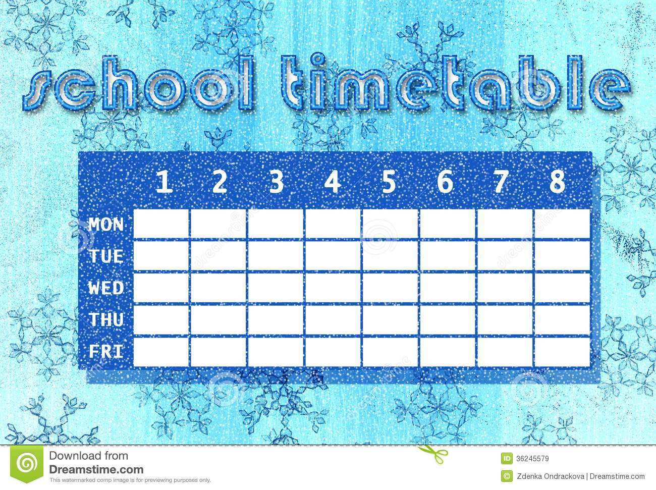 Winter Timetable Royalty Free Images Image 36245579 – Personal Time Table Format