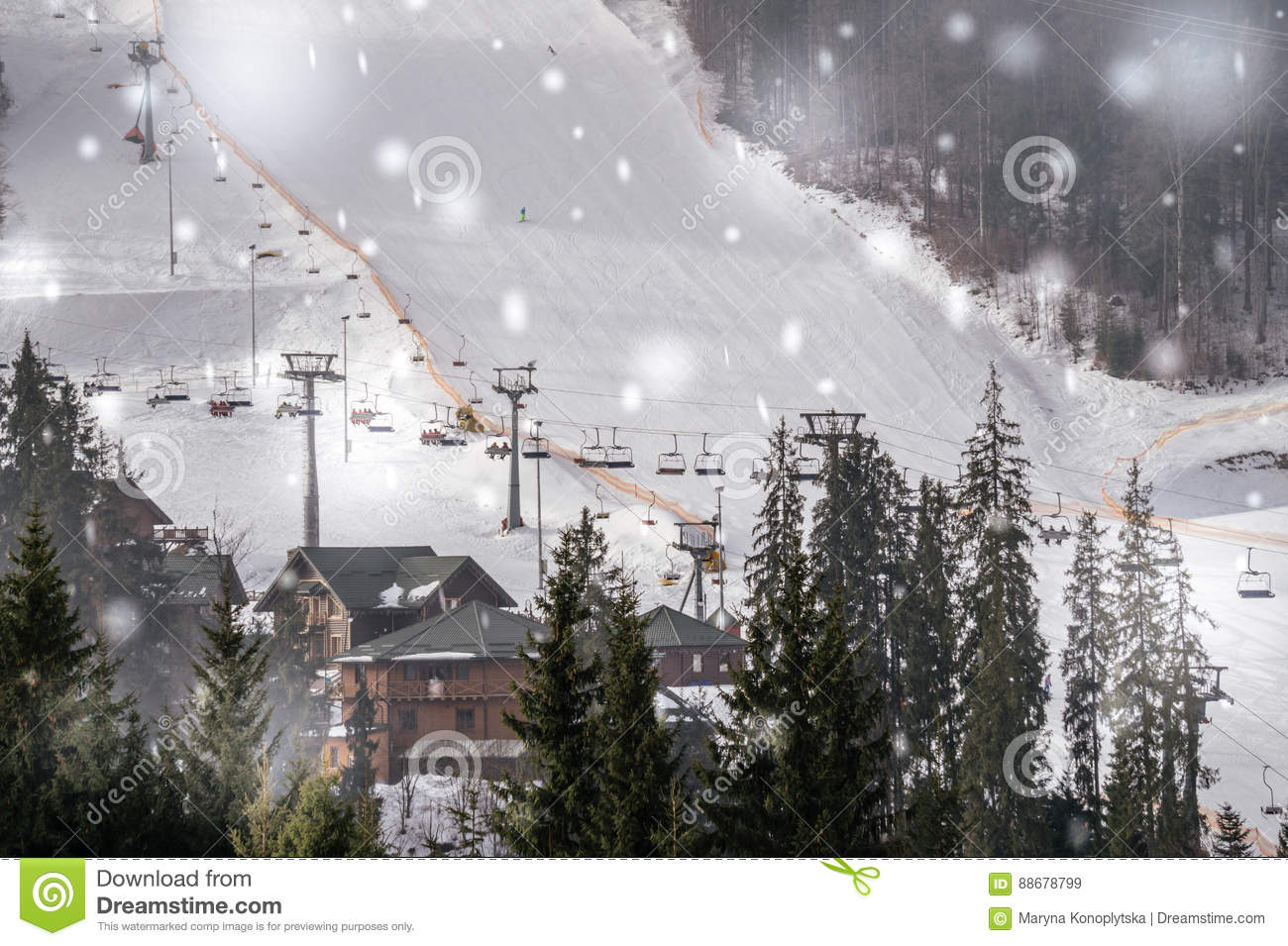 winter tourism in eastern europe. modern ski lift on a background of