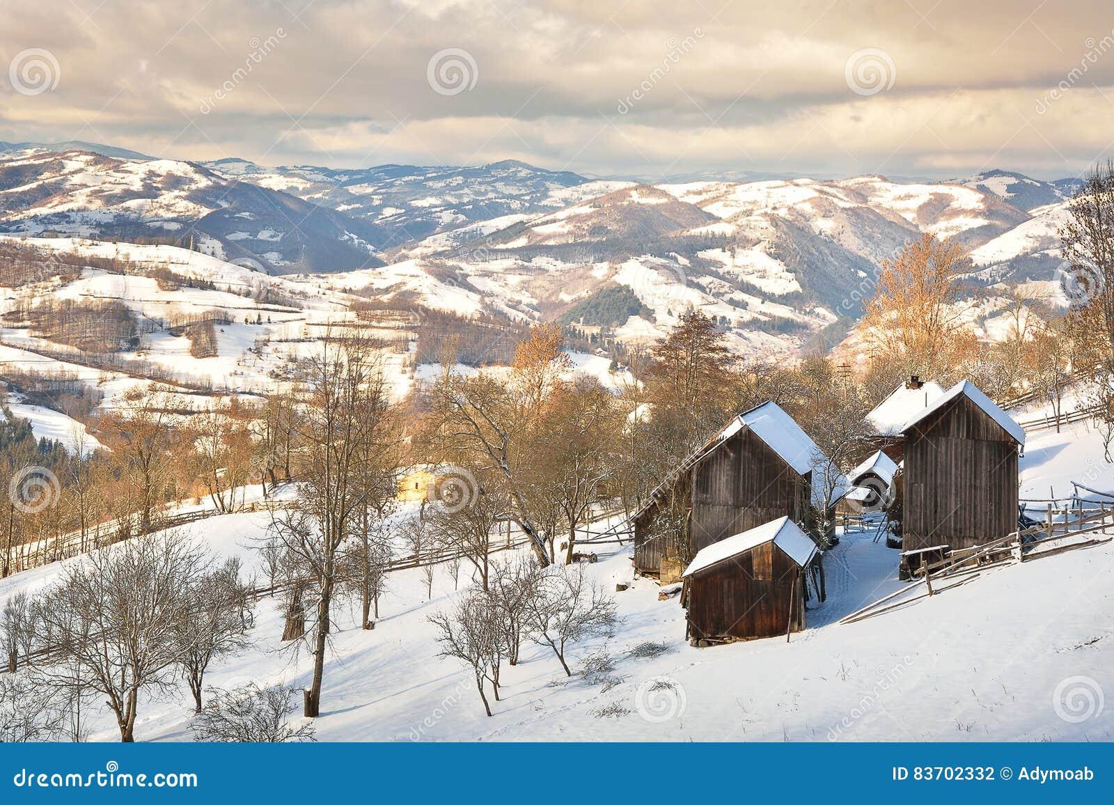 Winter In Transylvania Romania Stock Photo