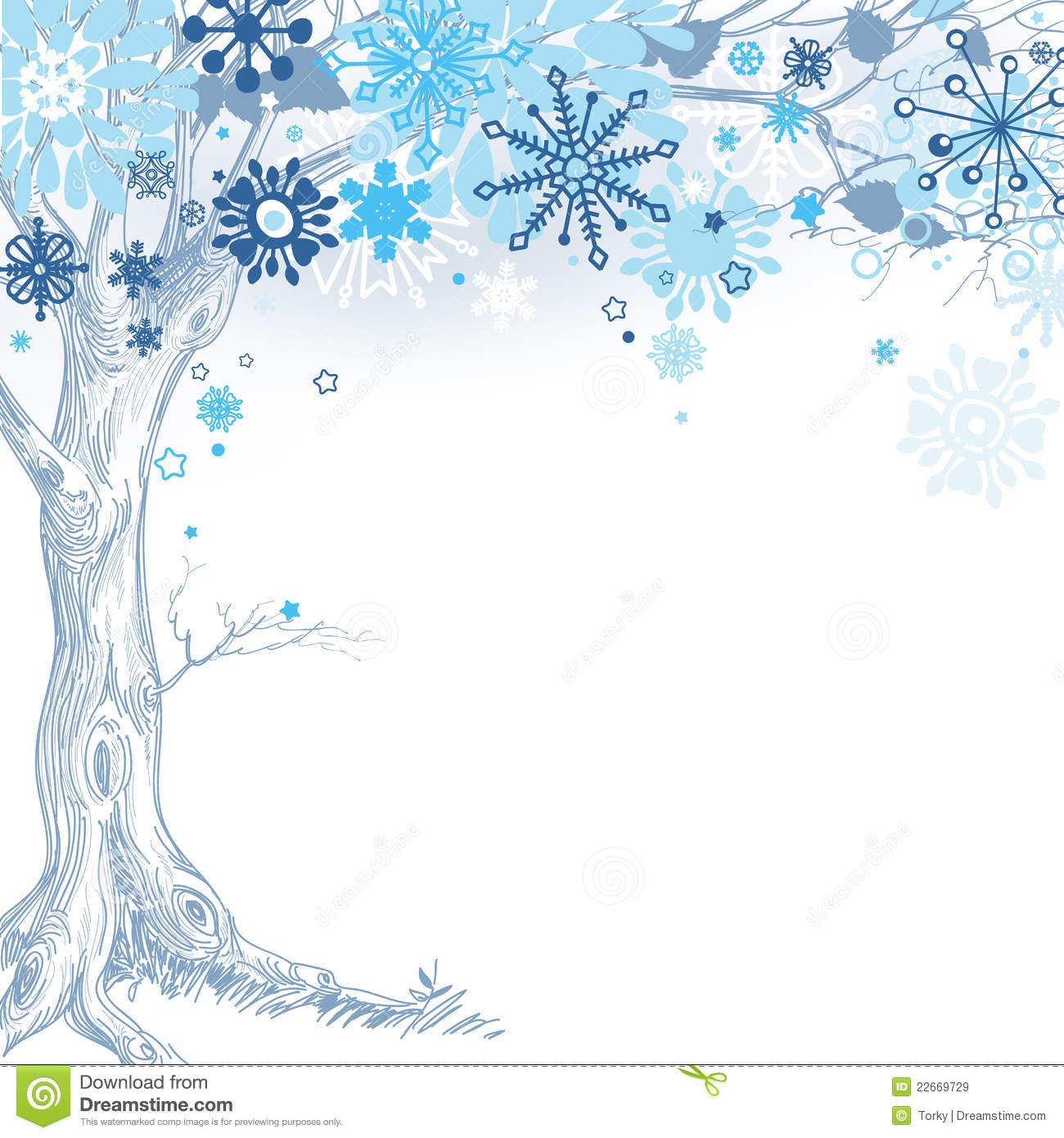 Winter tree with snowflakes over white background.