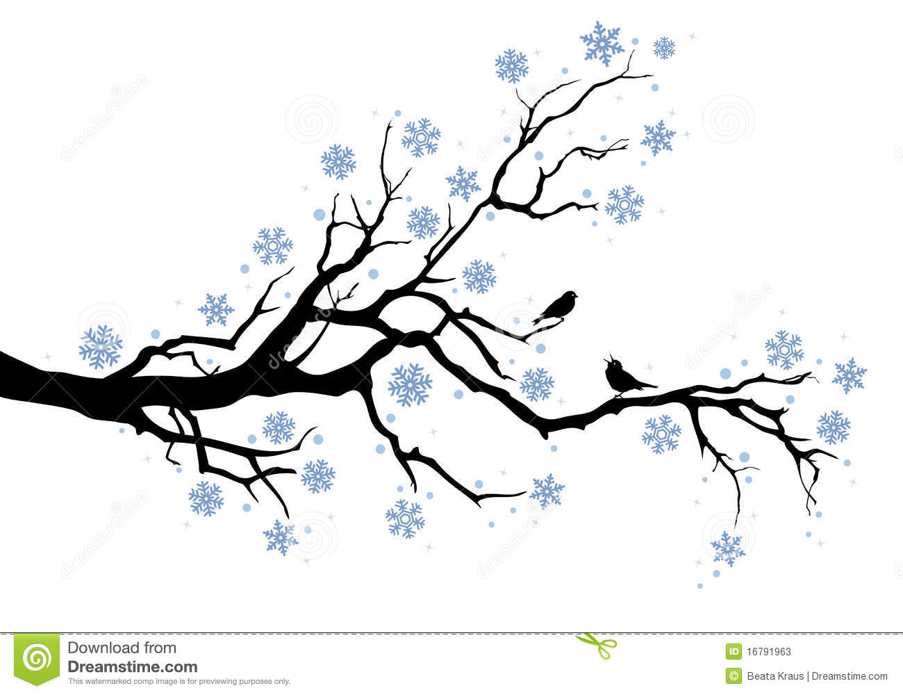 Winter tree with snowflakes and birds, background.