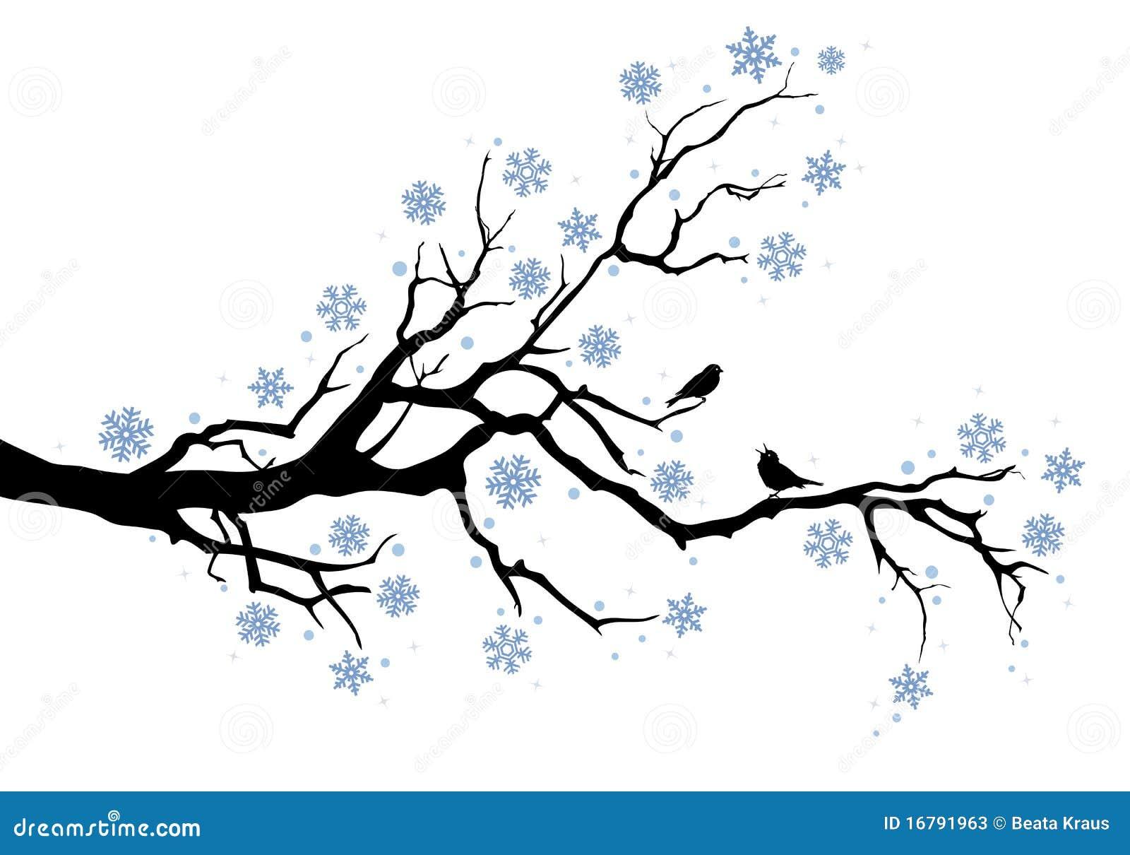 Winter tree branch stock vector. Illustration of branch ...