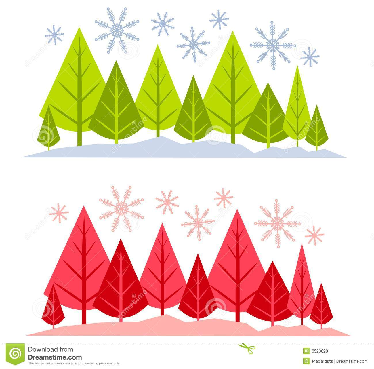 Winter Tree And Snow Scenes Stock Illustration - Image ...