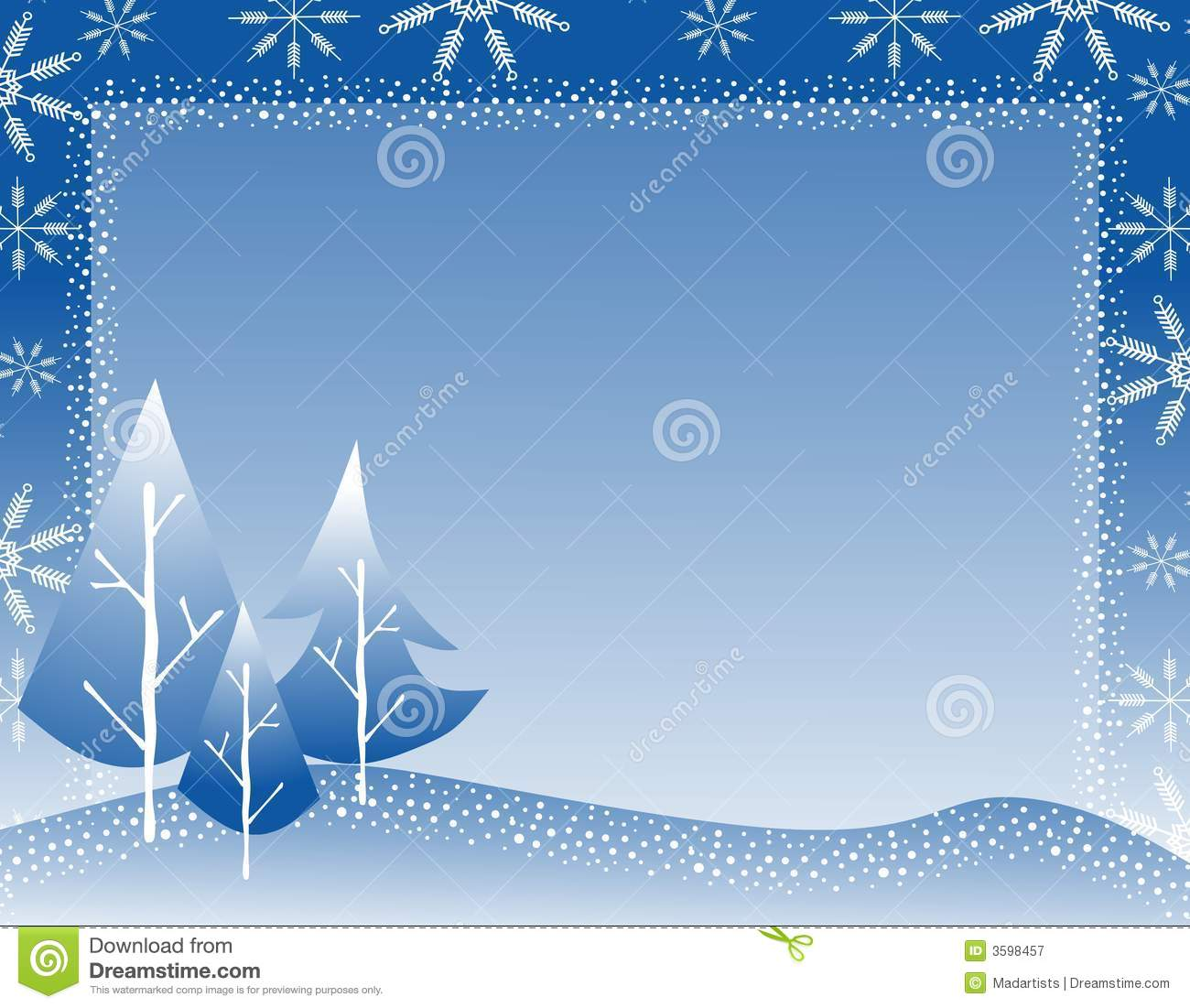 ... group of Christmas trees, and snowflakes as a frame or border