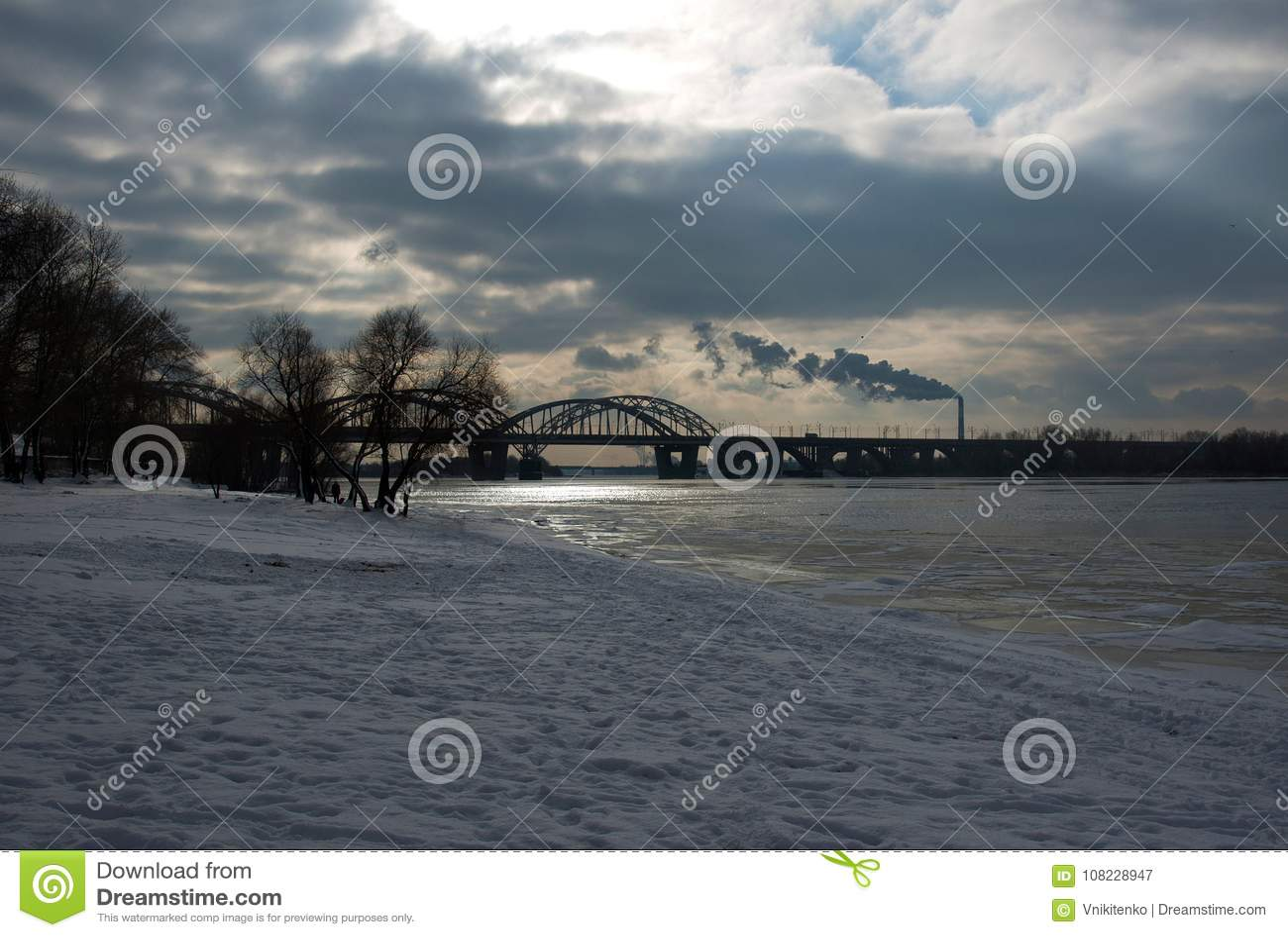 The winter urban evening landscape