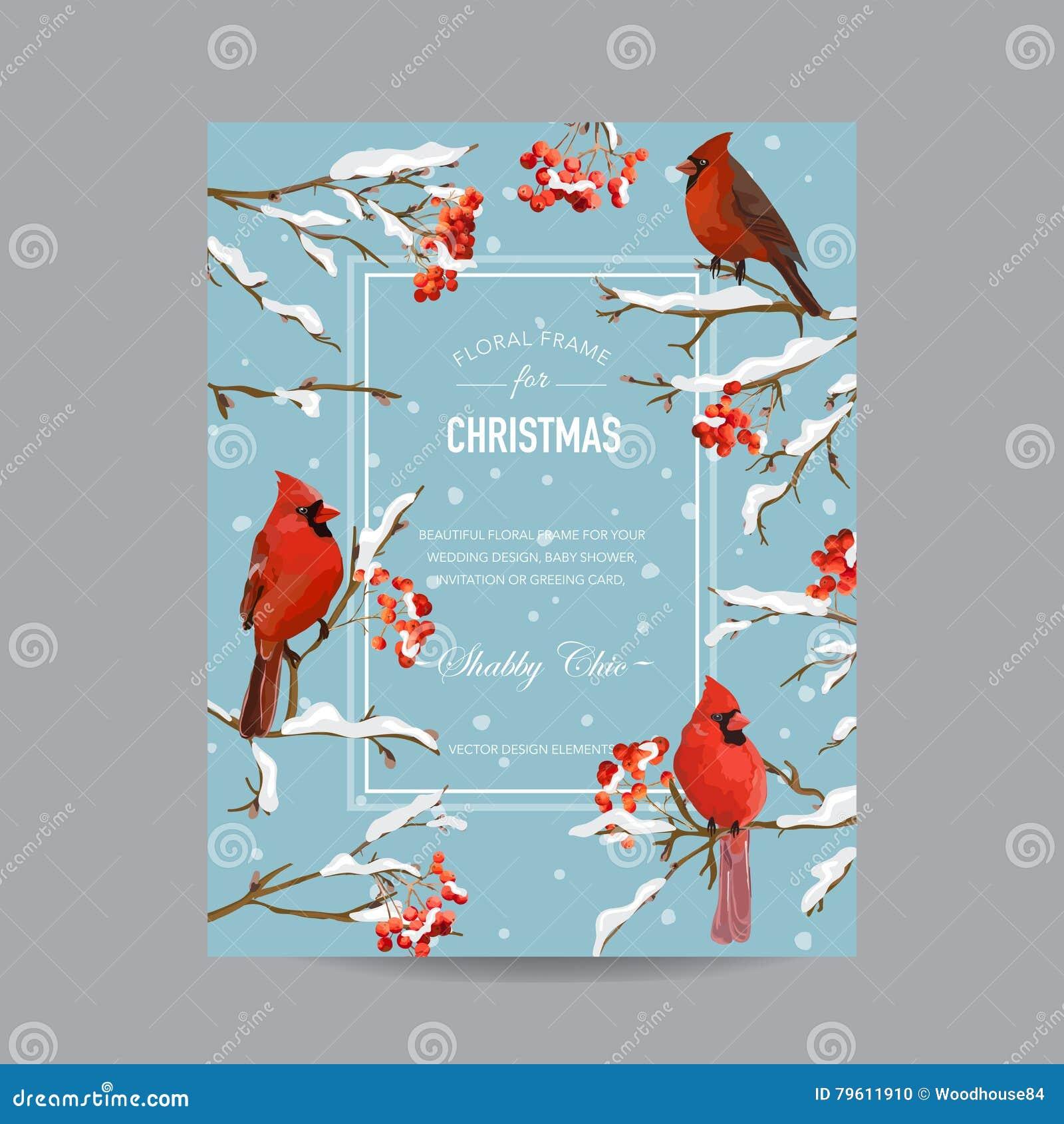 Winter-Vögel Und Beeren-Rahmen Oder Karte - In Der Aquarell-Art ...
