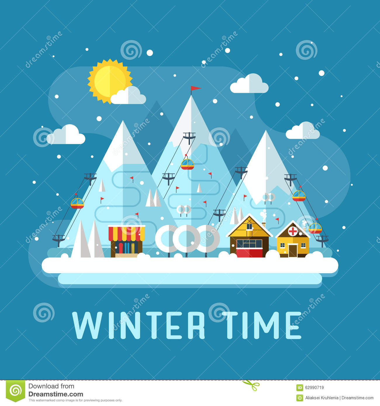 Winter vacation flat landscape stock vector image 62990719 for Ski designhotel