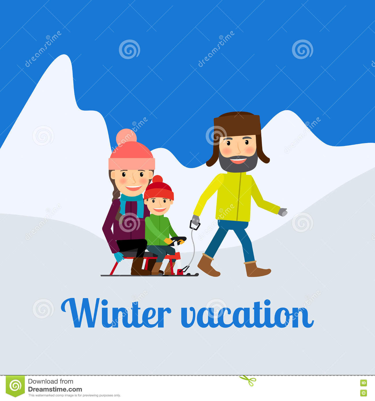 Winter vacation man with children stock vector for Winter vacations in the us