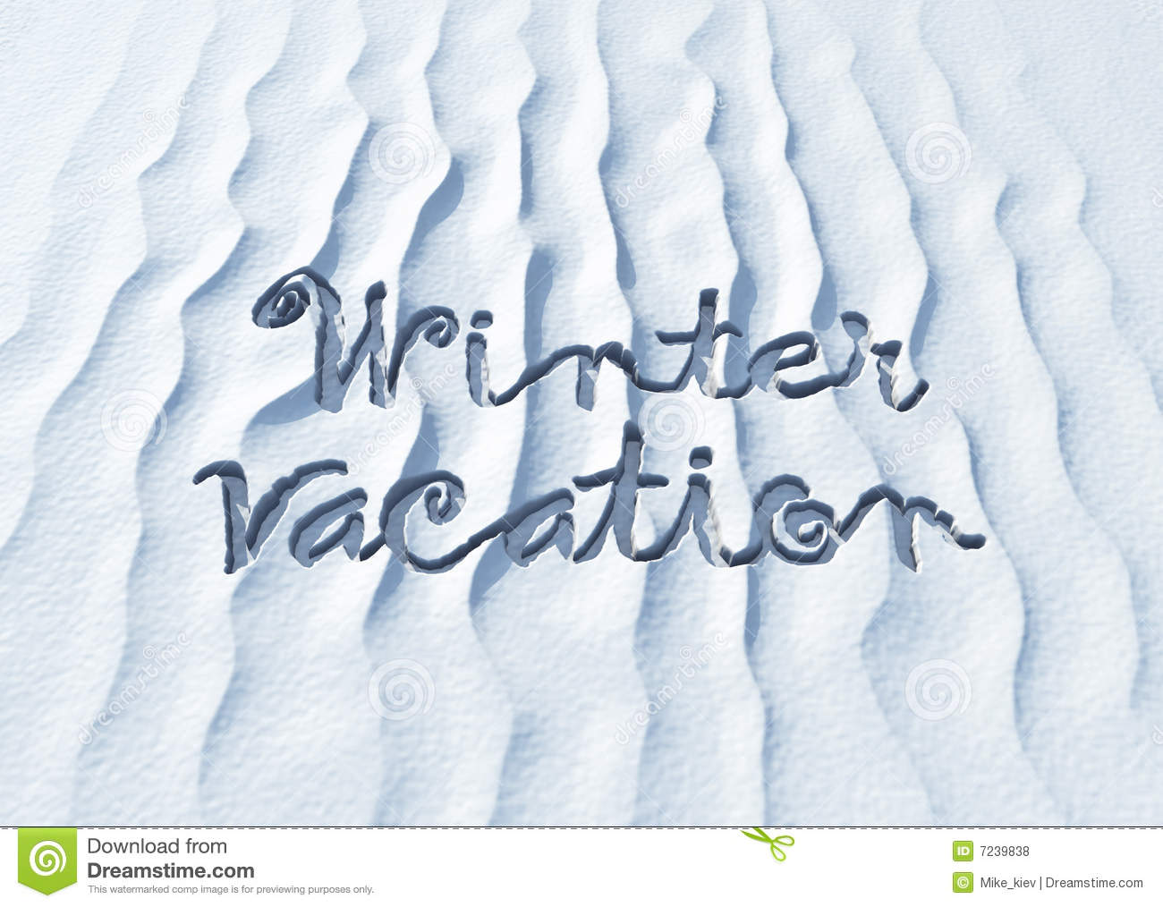 Winter Vacation, Words On Snow Stock Illustration