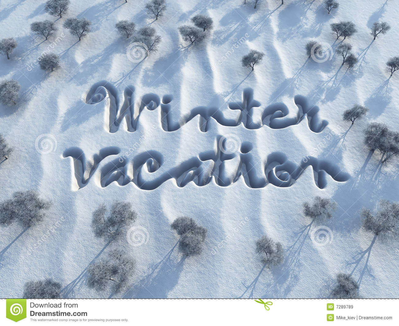 Winter vacation words on snow stock illustration for Winter vacations in us