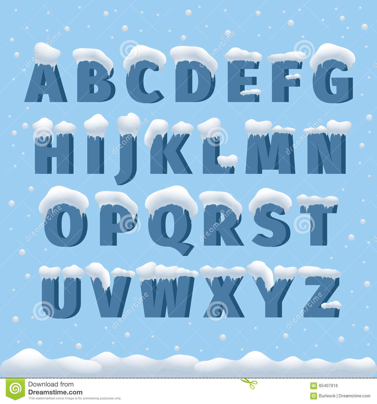 Winter vector alphabet with snow stock vector illustration of winter vector alphabet with snow madrichimfo Images