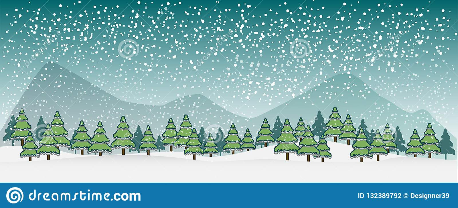 Winter vector landscape with silhouettes of trees and mountains.vector illustrator.