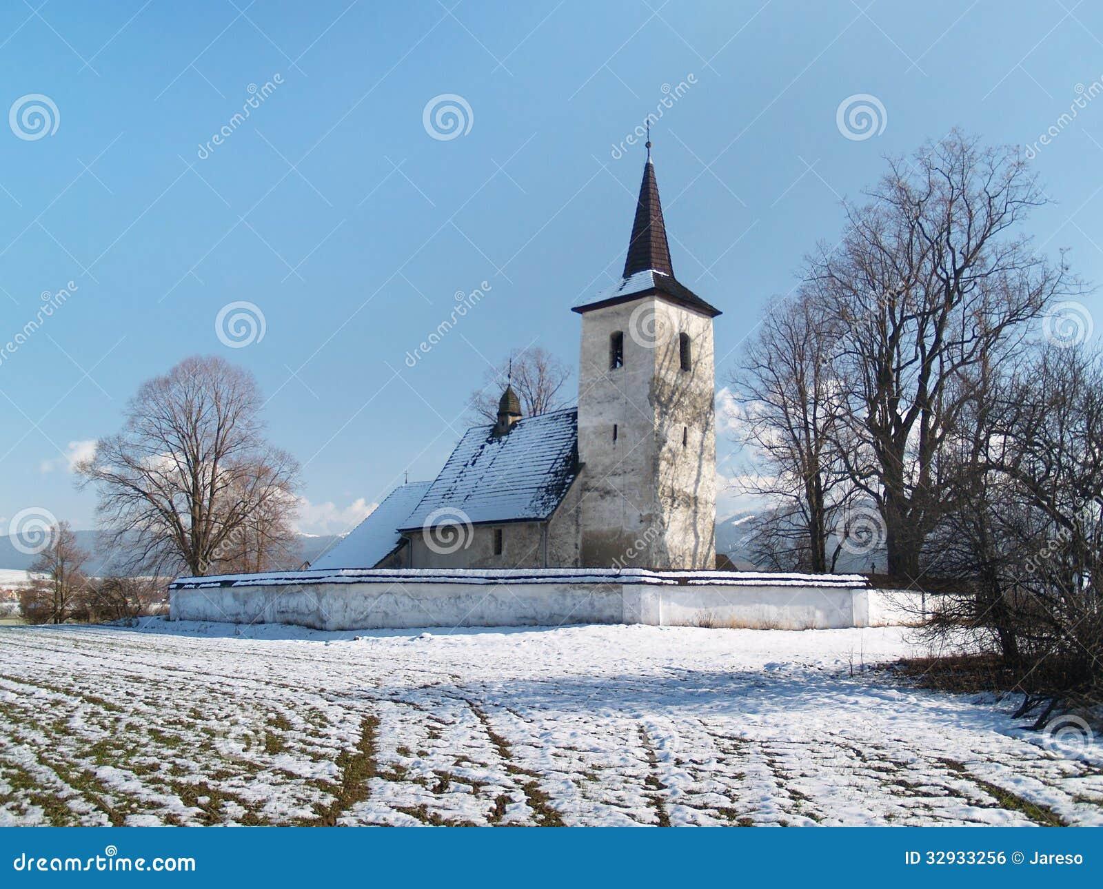 Winter view of All Saints church in Ludrova