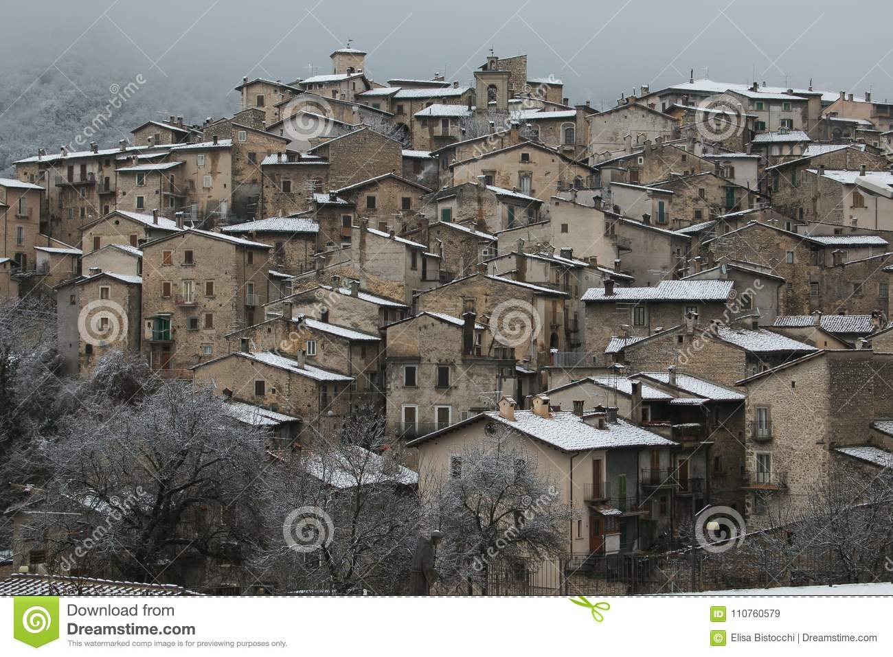 Winter view of authentic medieval villages of Abruzzo - Scanno with snow, Italy