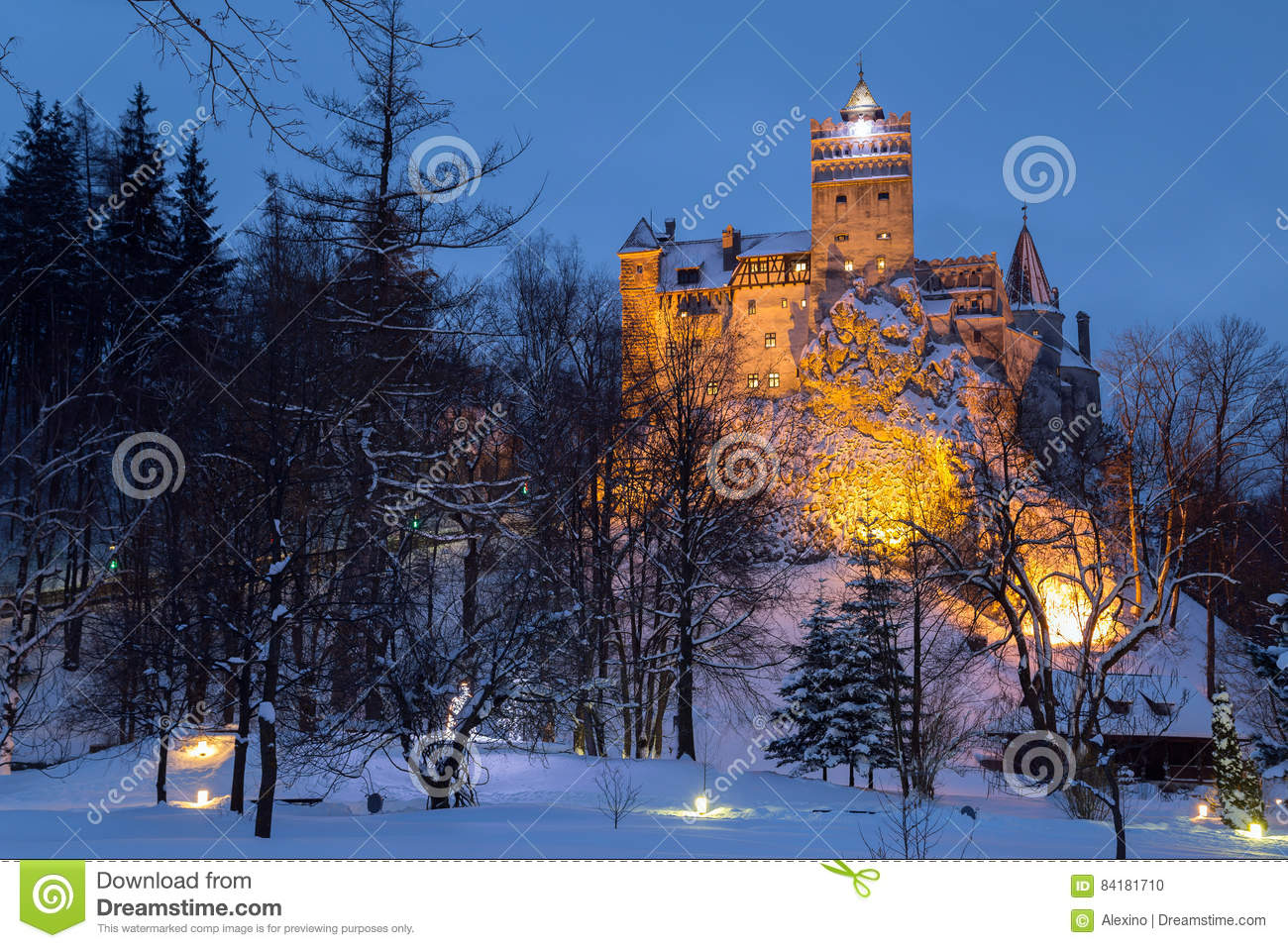 Winter view of Bran castle, also known as Dracula`s castle