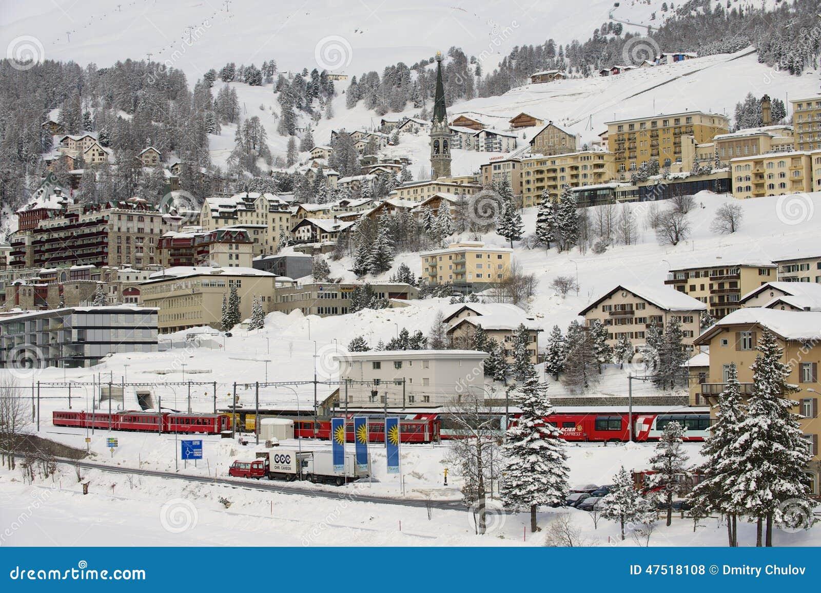 Winter view of the exclusive ski resort of St. Moritz on March 06, 2009 in St. Moritz, Engadine valley, Switzerland.