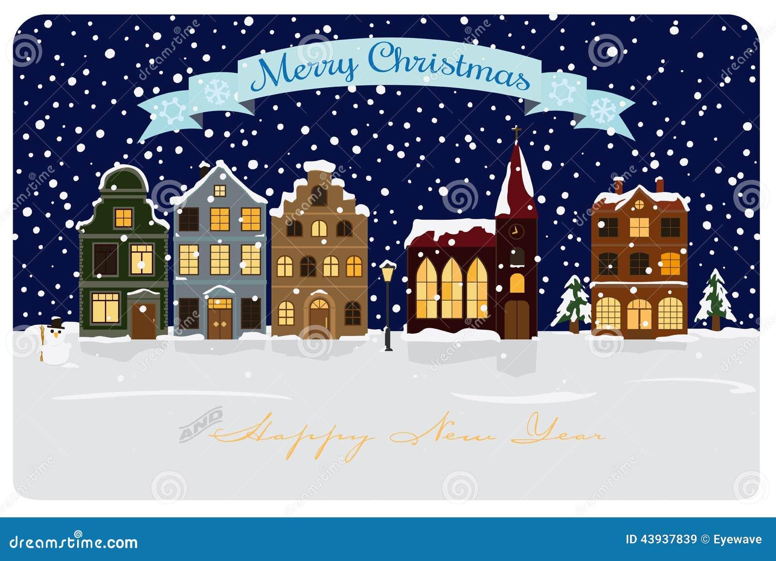 Winter village seasonal greetings vector illustration