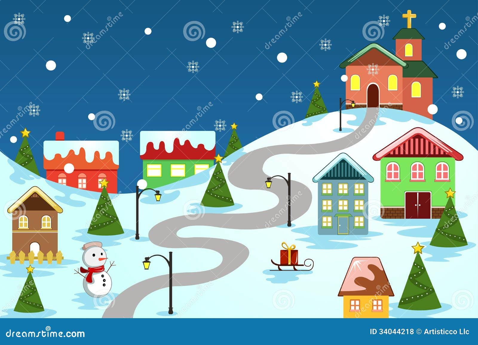 Town Landscape Vector Illustration: Winter Village Stock Vector. Illustration Of Rural