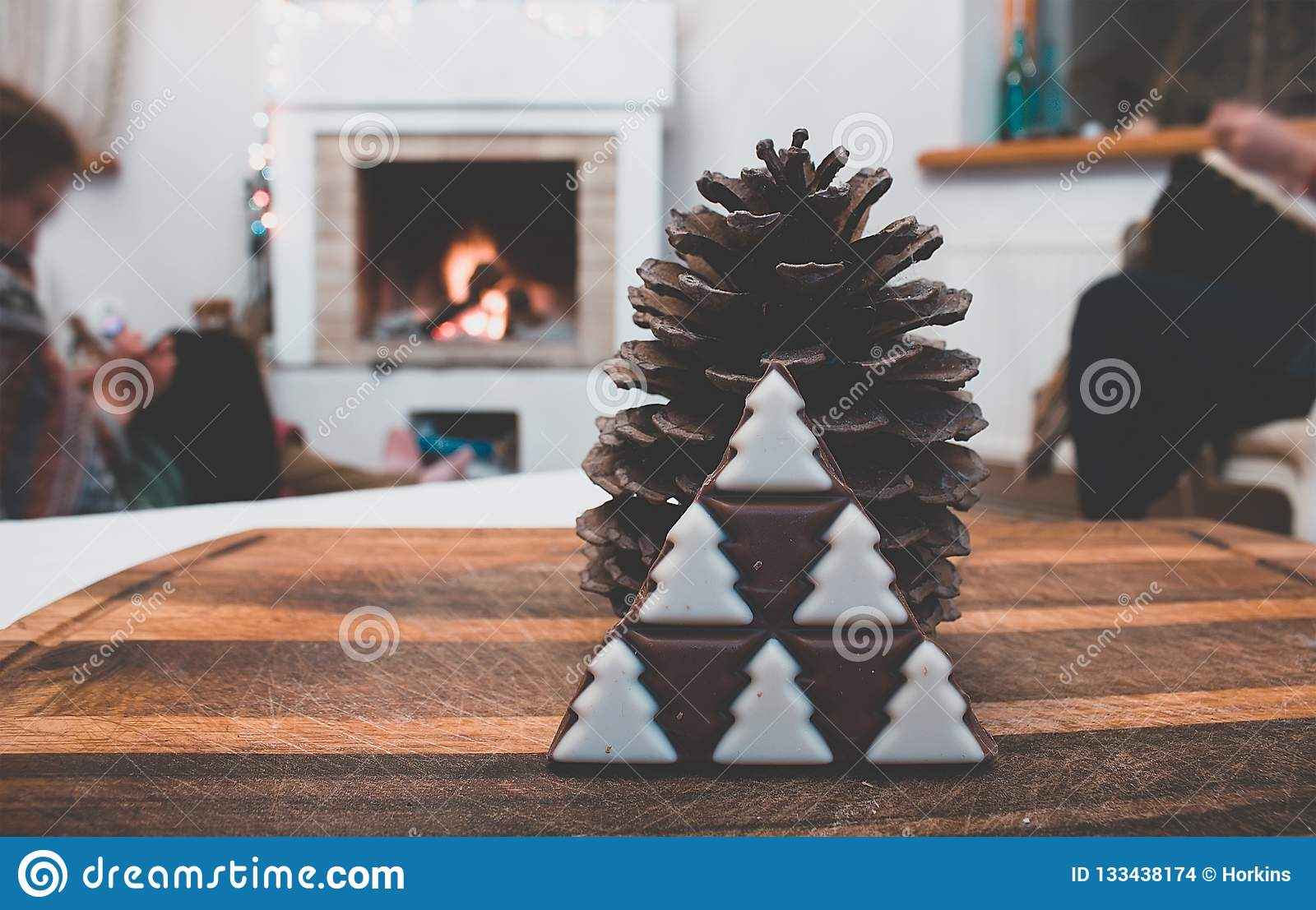 Winter Vintage Rustic Decorations With Pine Cone And Christmas Tree Chocolate Stock Photo Image Of Organic Festive 133438174