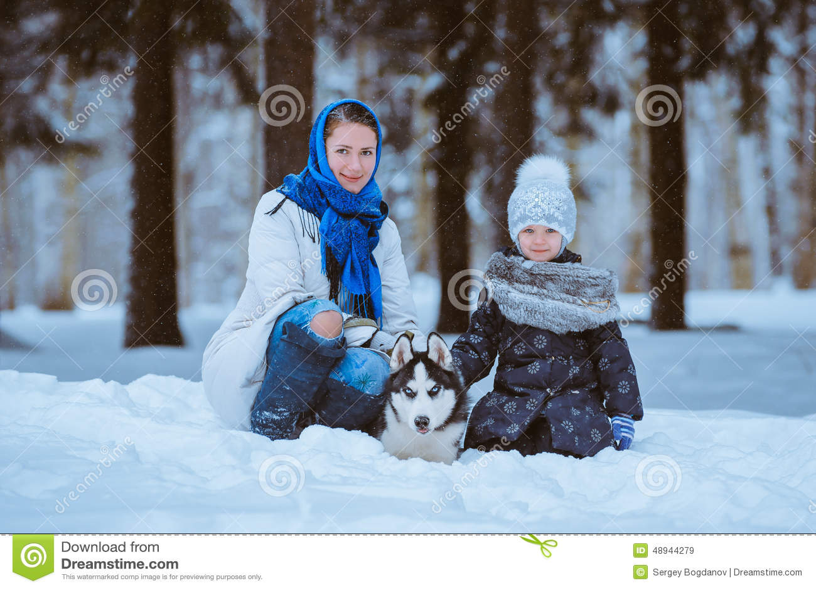 Winter walk with husky