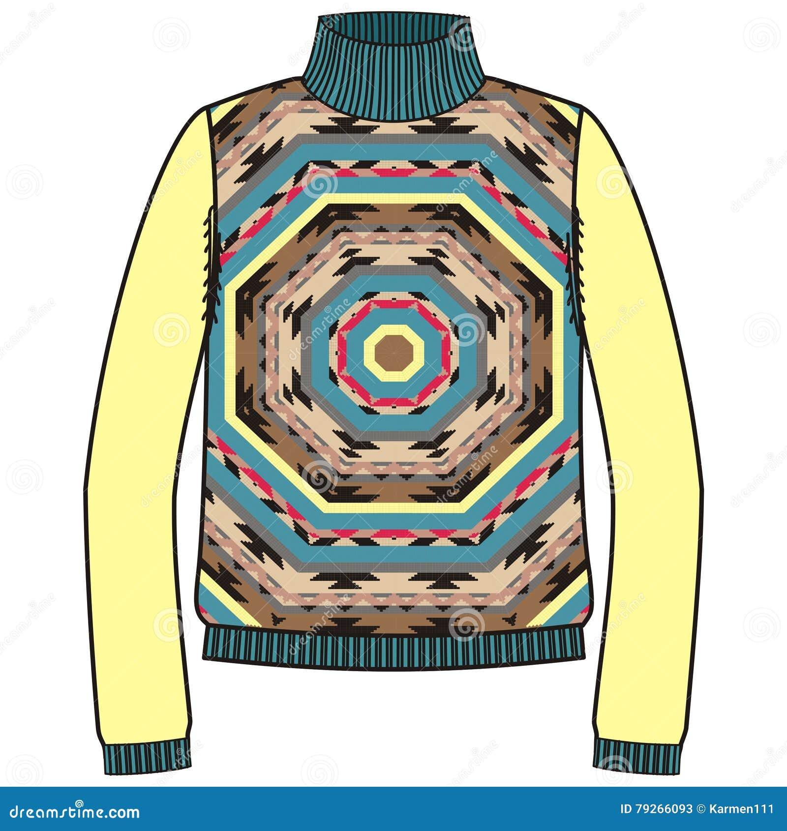 Winter Warm Tribal Jumper For Knit Handmade Native American Navajo