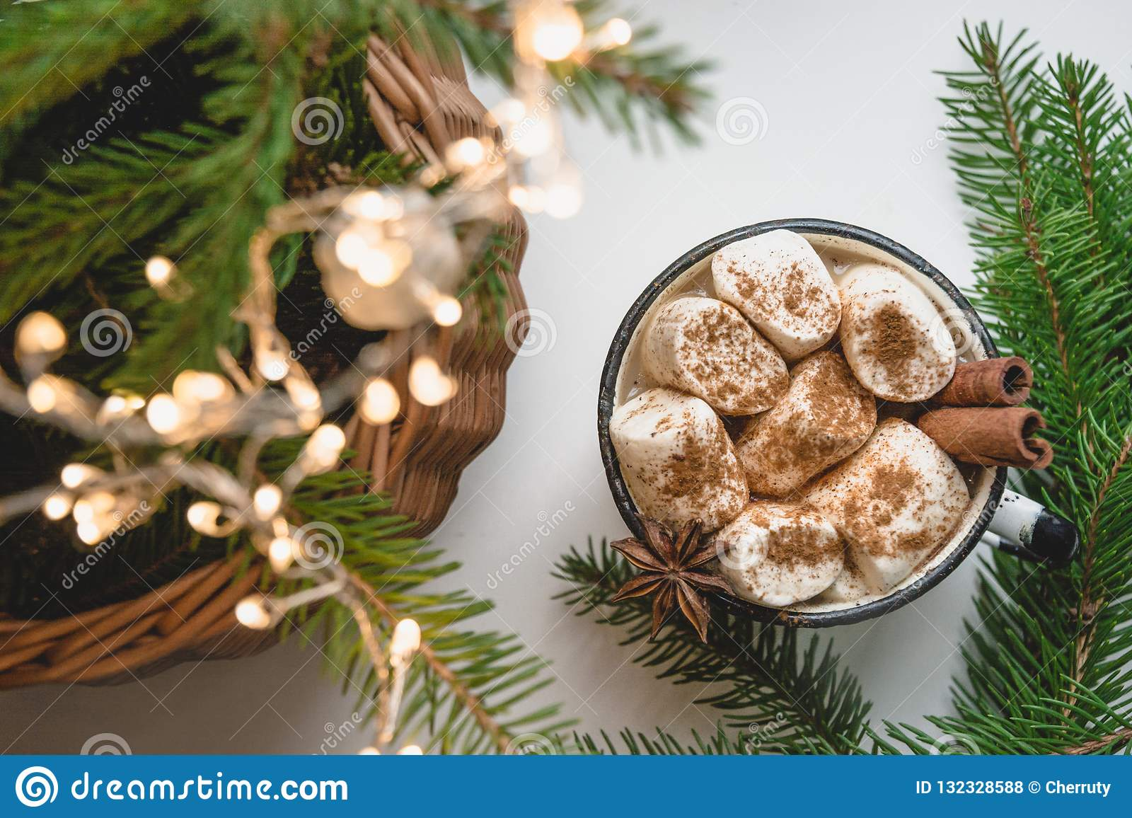 Winter Warming Mug Of Cacao And Chocolate With Marshmallow On Windowsill With Christmas Tree Decor Stock Photo Image Of Cacao Marshmallow 132328588