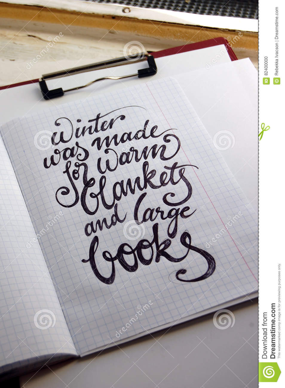 Winter Was Made For Warm Blankets Calligraphic Background Stock Illustration