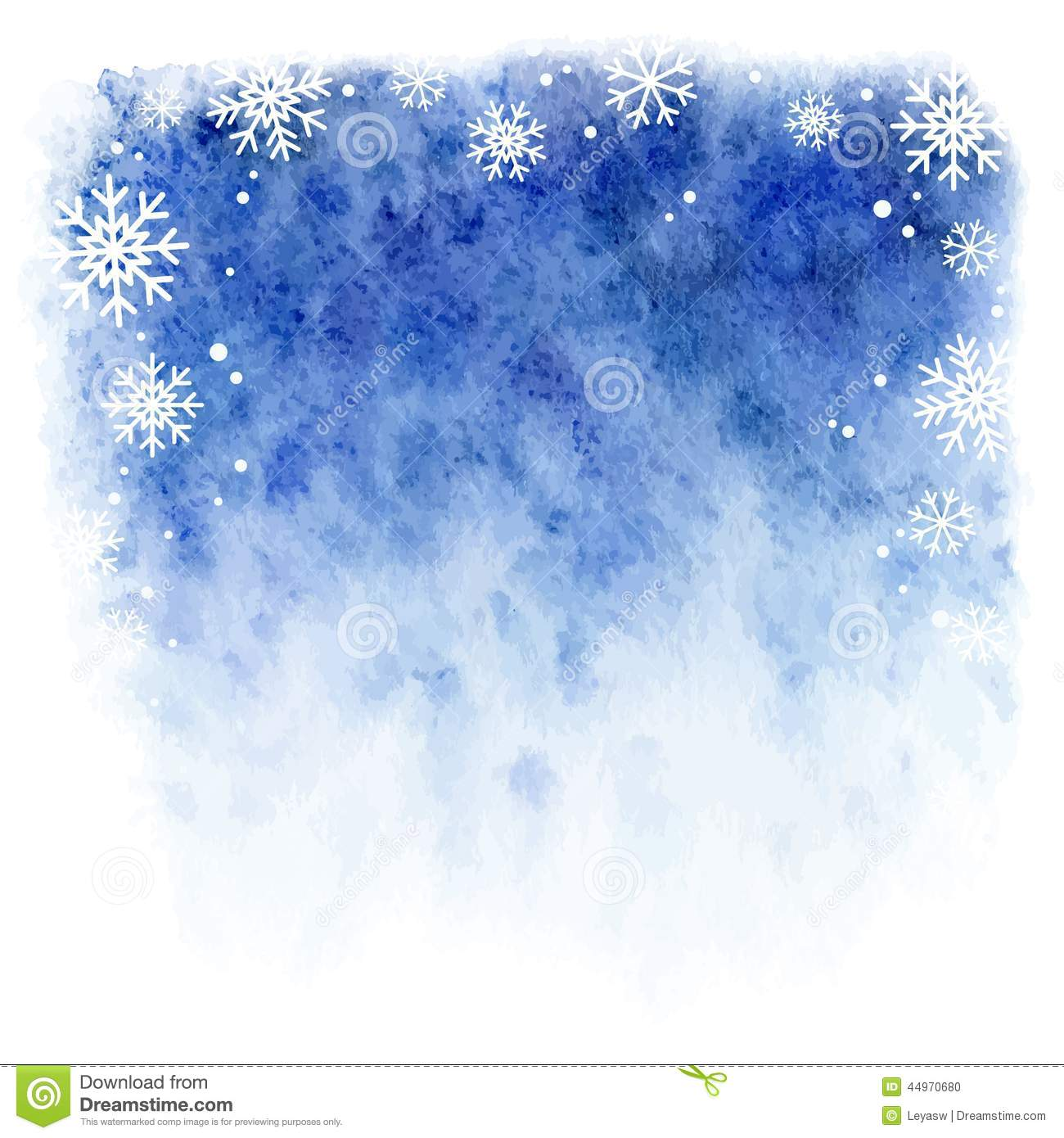 With white christmas background and snow vector vector background - Winter Watercolor Background Blue Sky With Falling