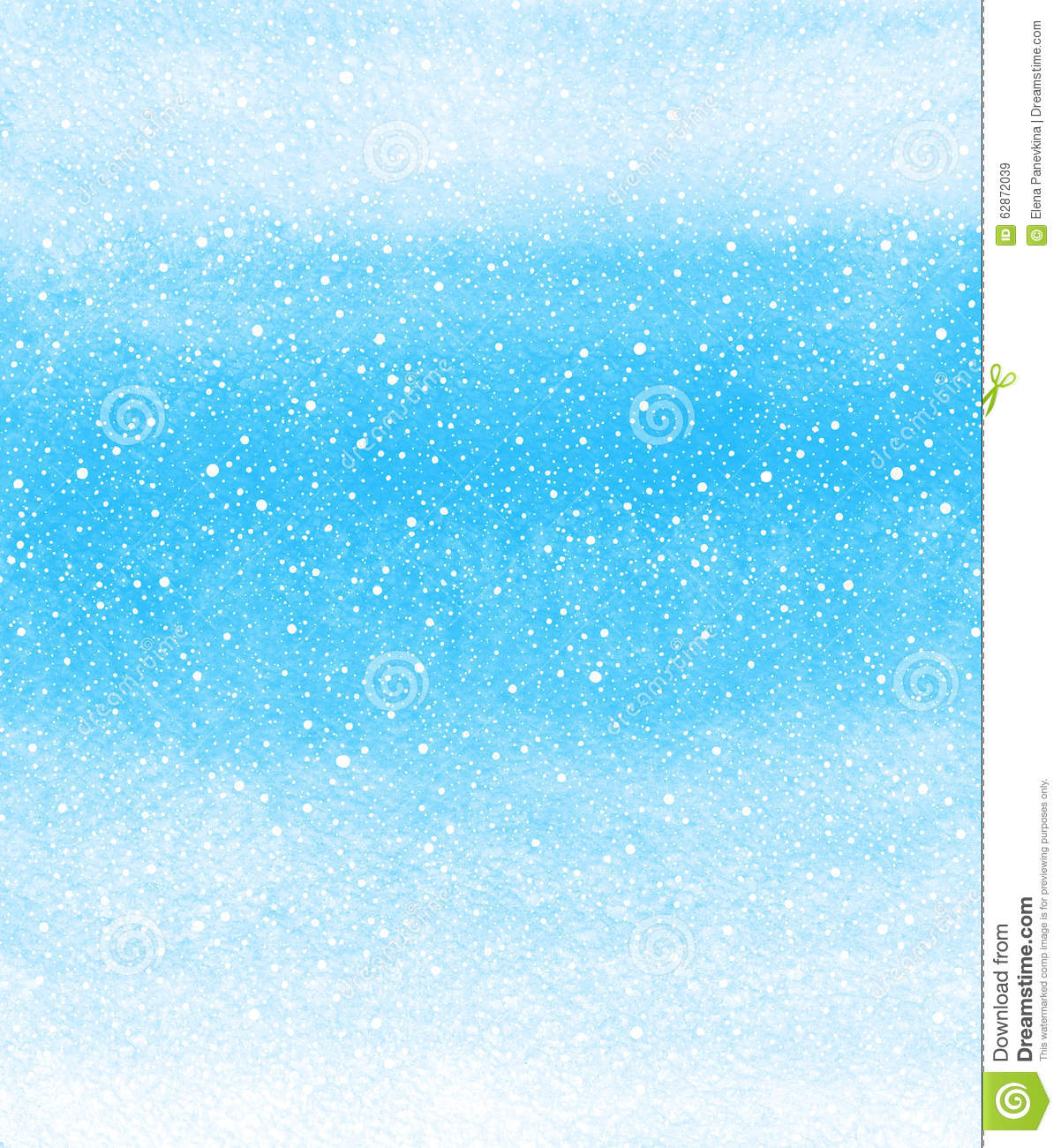 winter watercolor background with falling snow splash