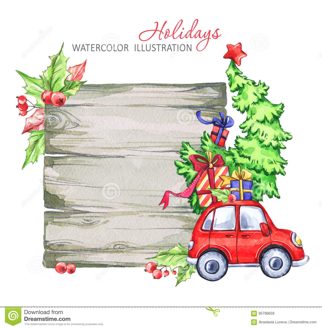 Winter Watercolor Greeting Card, Wooden Frame With Retro Car ...