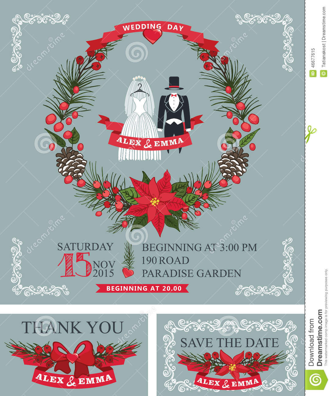 Winter Wedding Invitation Set.Wedding Wear, Stock Vector ...