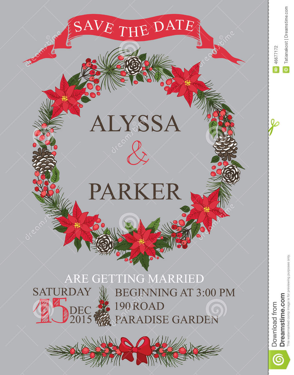 Save The Date Christmas Cards.Winter Wedding Save Date Card Christmas Wreath Stock Vector