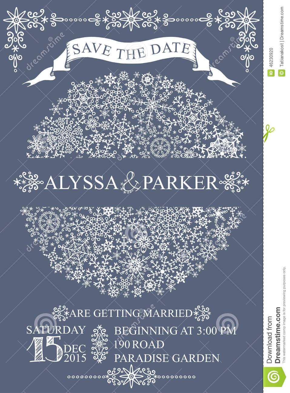 Winter Wedding Save Date CardSnowflakes Circle Photo – Winter Wedding Save the Dates