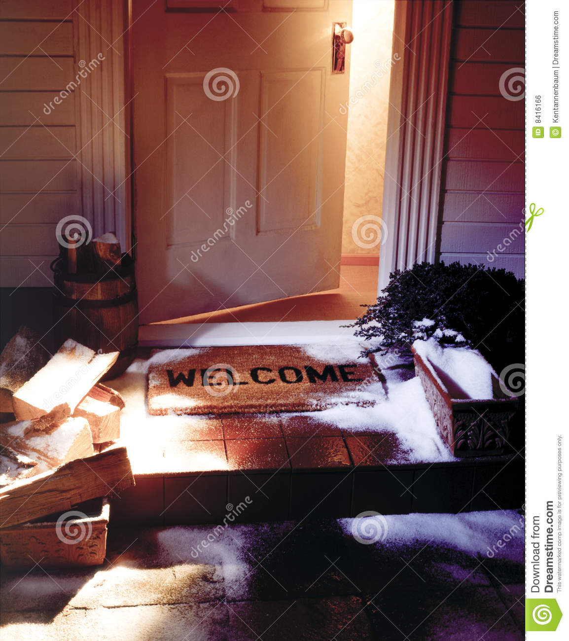 Winter Welcome Mat With Open Door Stock Photo Image 8416166