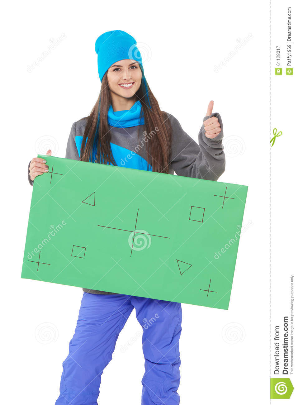 Winter Woman With Banner Stock Photo - Image: 61128017