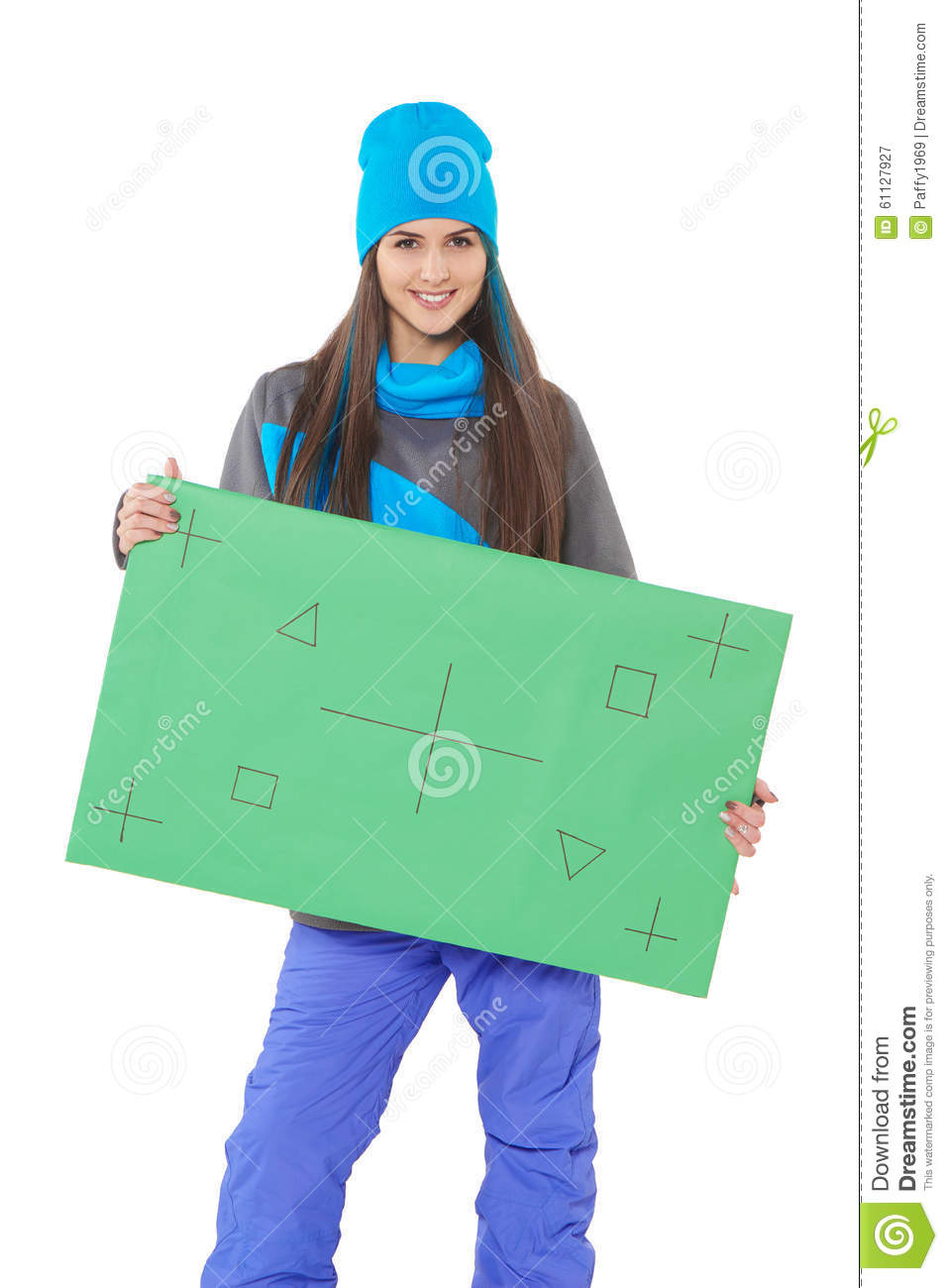 Winter Woman With Banner Stock Photo - Image: 61127927