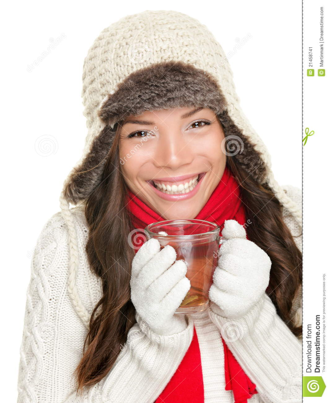 3847899fbfe6 Winter woman drinking tea stock image. Image of happy - 21458741