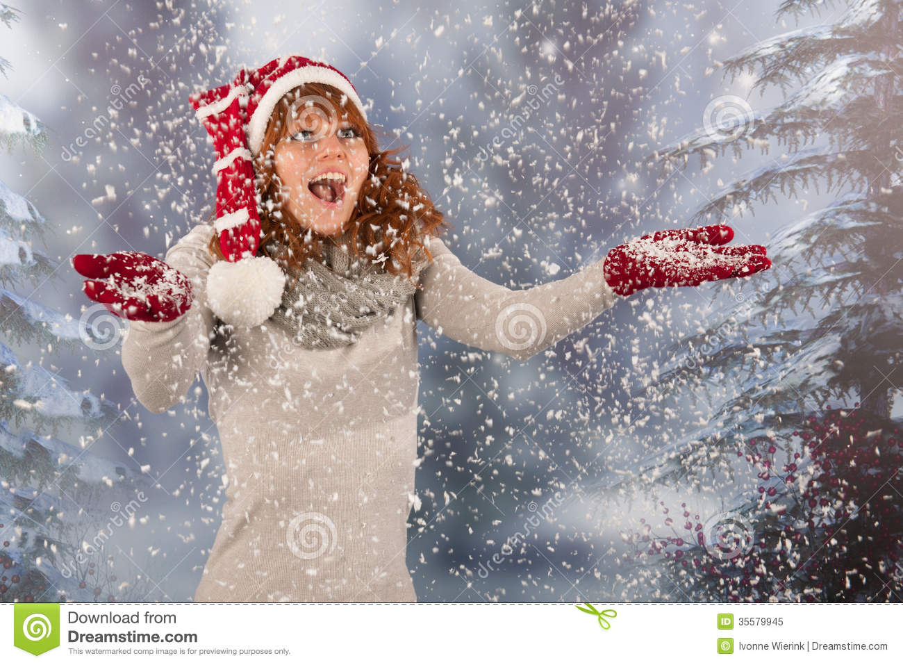 ebae3bbc90ce4 Winter Woman With Hat Of Christmas Santa In Snow Stock Image - Image ...