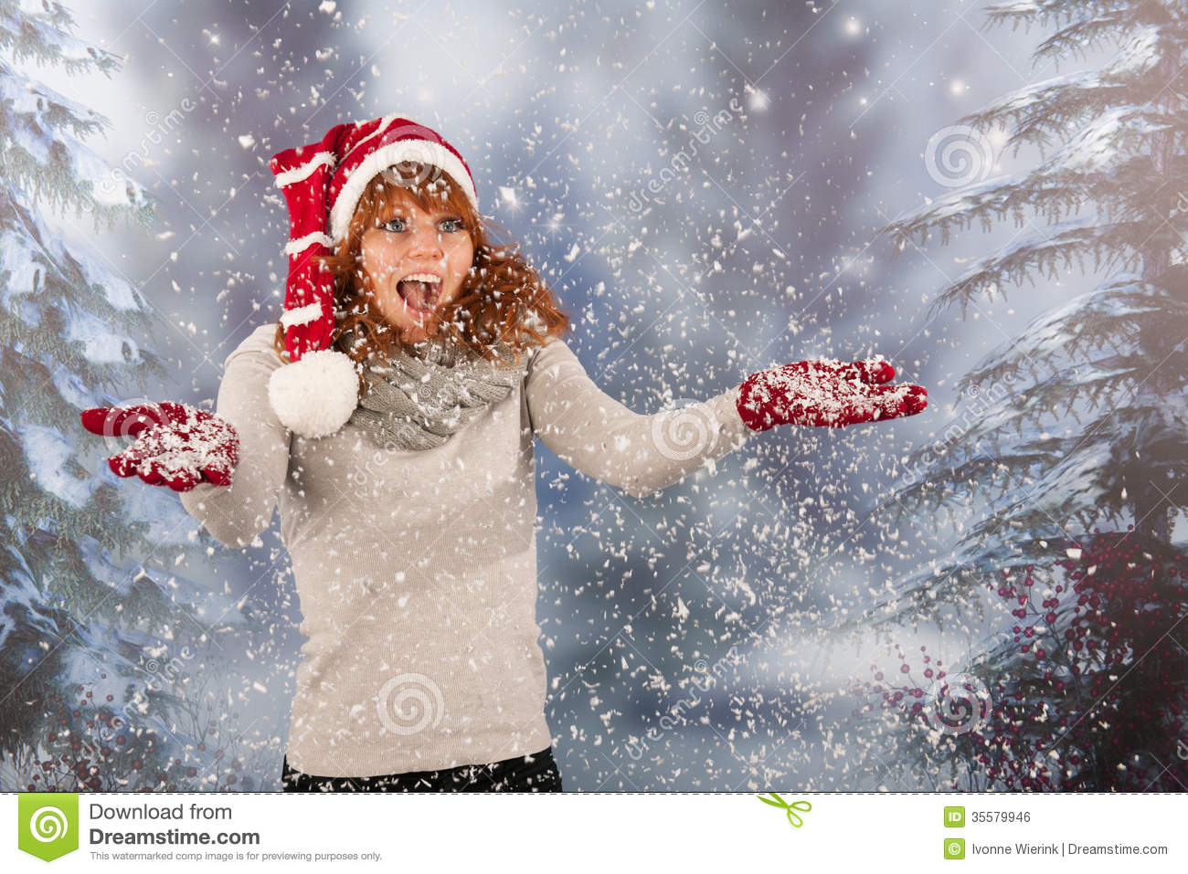 93f7cba90fad9 Winter Woman With Hat Of Christmas Santa In Snow Stock Photo - Image ...
