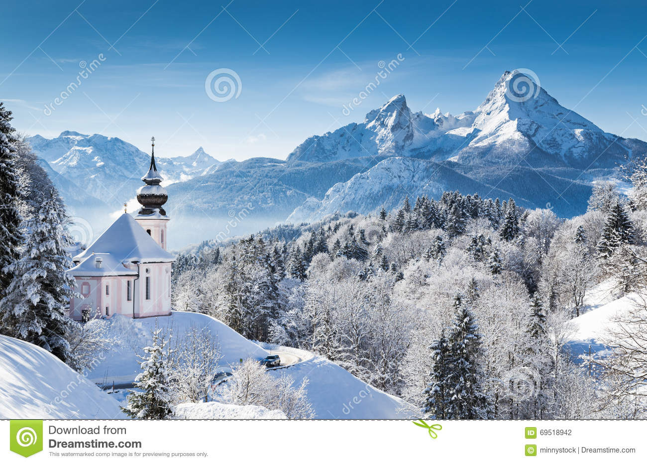 Winter wonderland in the Alps with church