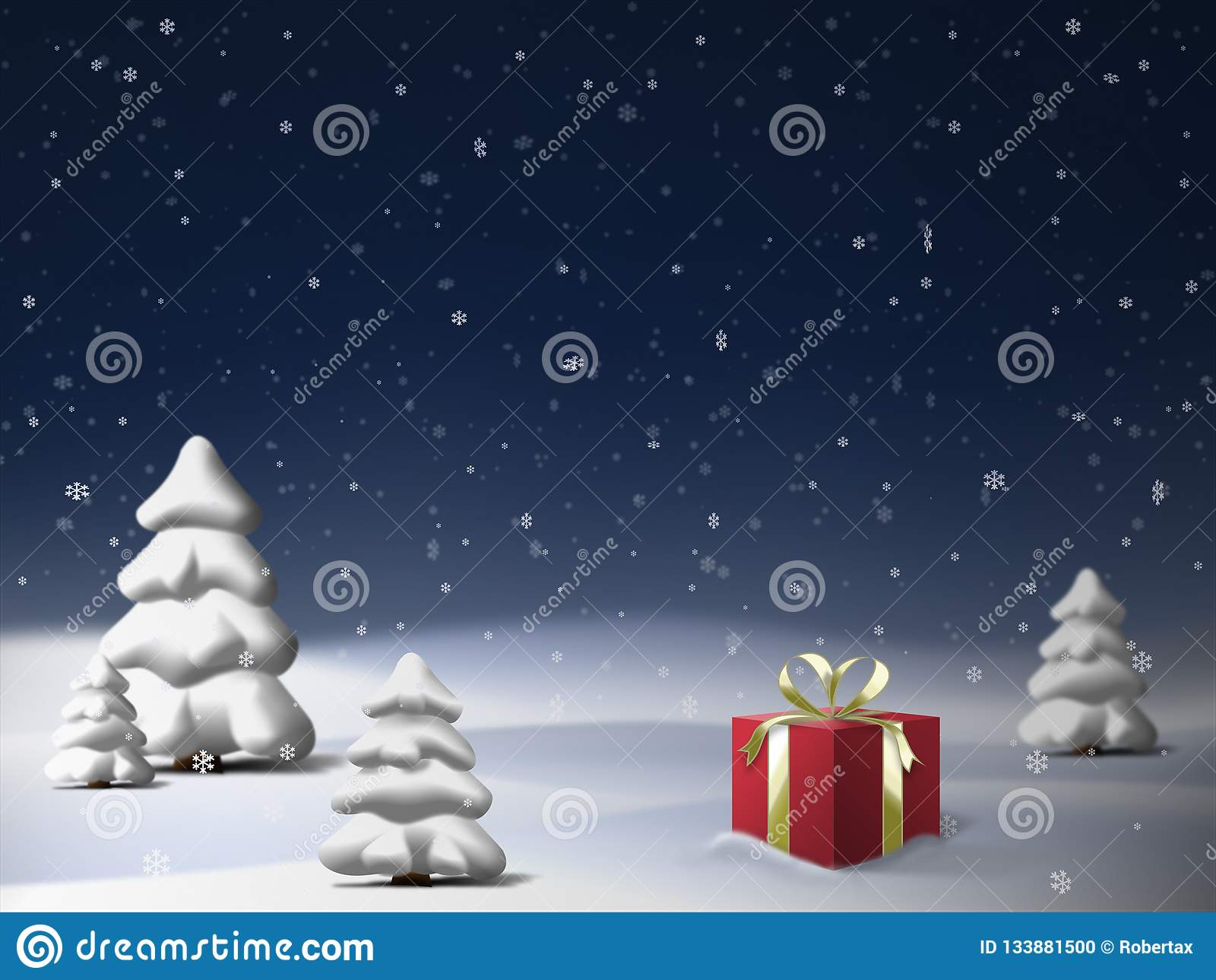 Beautiful Winter Night Scene With Spruce Trees Red Gift Box And Falling Snow Stock Illustration Illustration Of Christmas Scenery 133881500