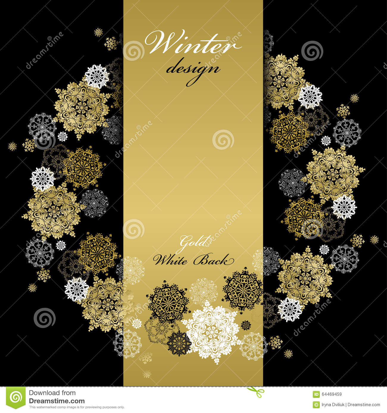 Background image vertical center - Golden Snowflakes Background Text Place Stock Vector