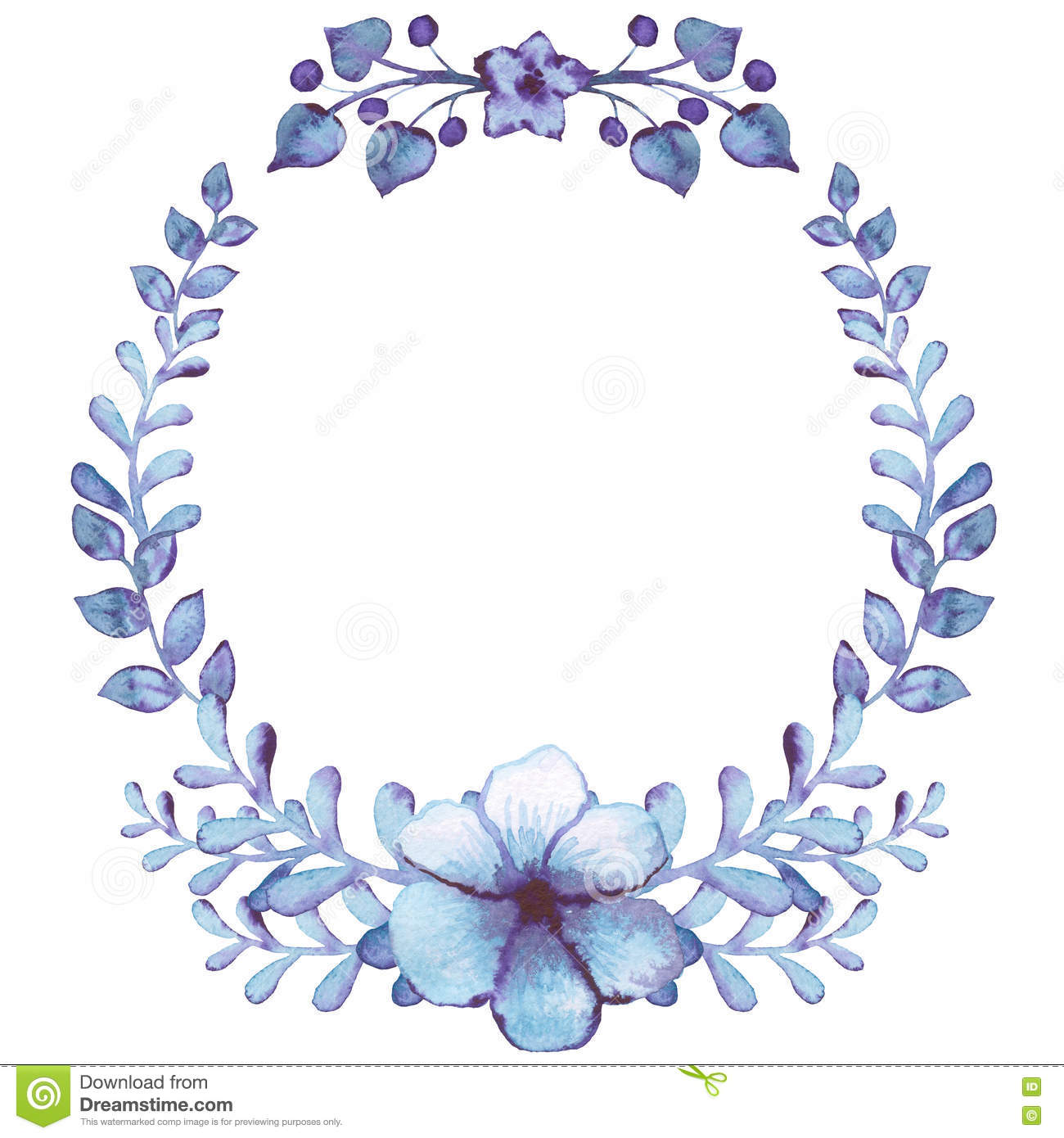 Winter Wreath With Watercolor Light Blue Flowers And Leaves