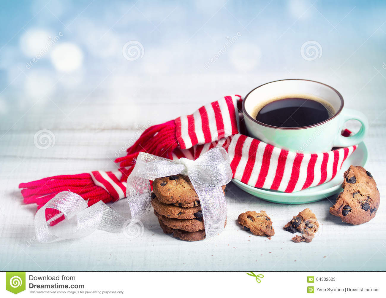 Winter Xmas Concept Coffee amp Cookies Background