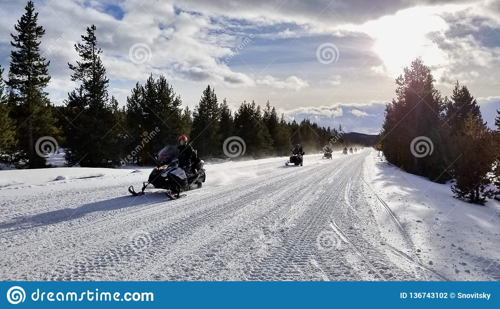 Snowmobile Tour At Yellowstone National Park Editorial
