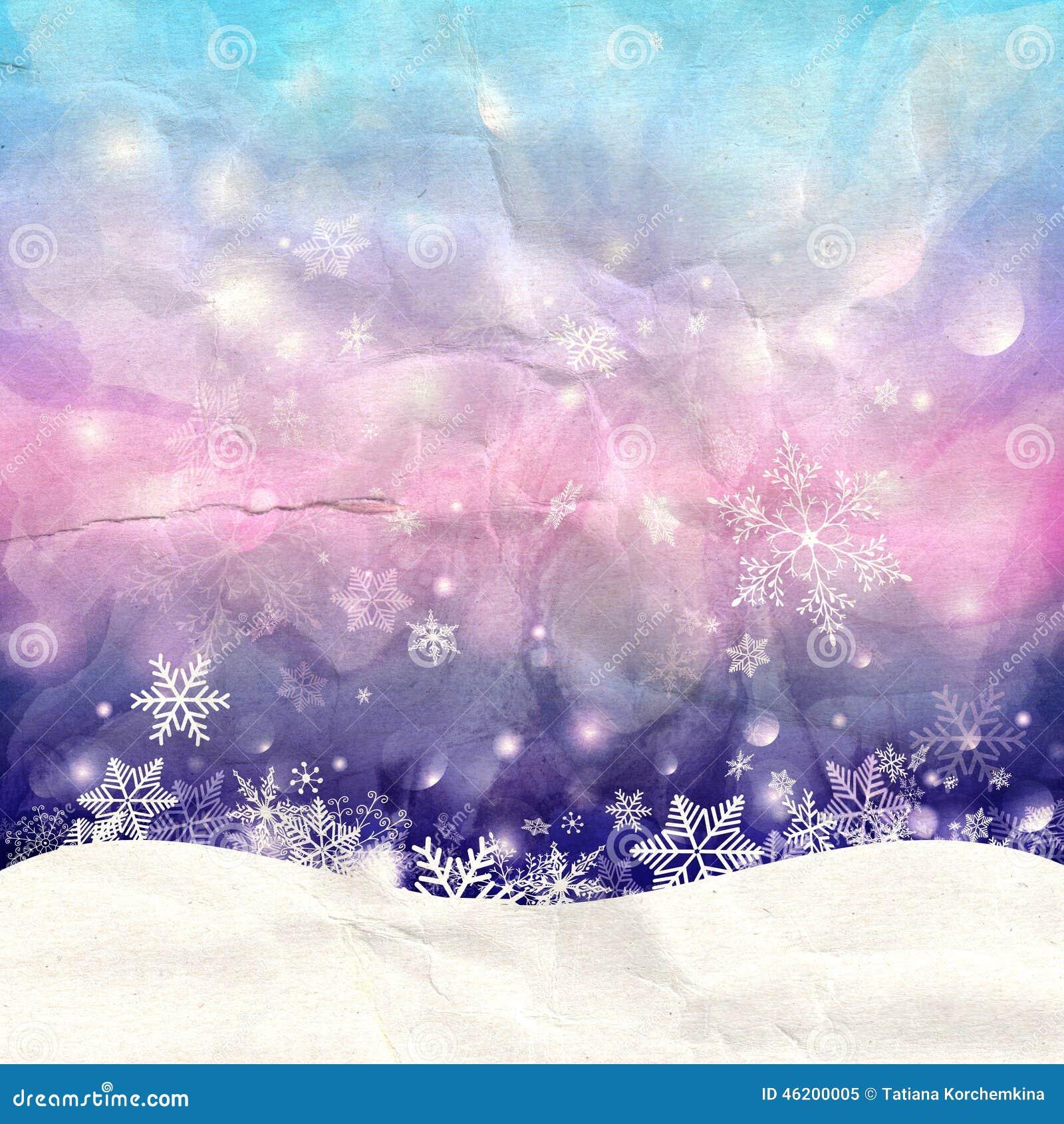 Winteraquarellhintergrund mit Schneeflocken